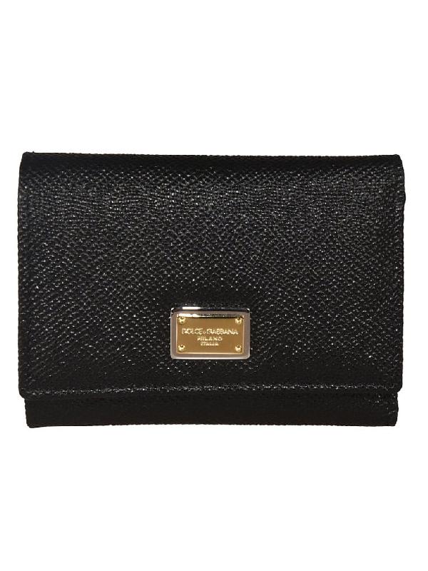 Dolce & Gabbana Daphine Logo Plaque Wallet In Black