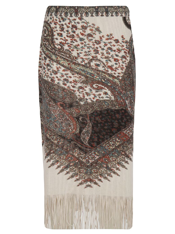 Etro Paisley Knit Skirt In Off-white/multicolor