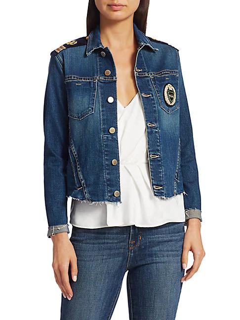 L Agence Janelle Slim-fit Embroidered Crest Military Denim Jacket In Meridian