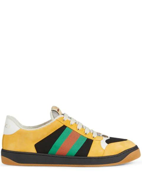 Gucci Men's Screener Suede Sneaker In 1097 Giallo