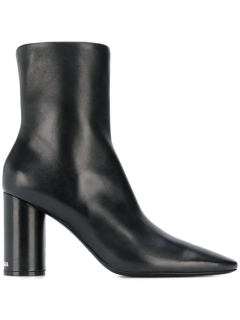 Balenciaga Oval Block-heel Leather Ankle Boots In Black