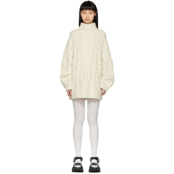 Juun.j White Cable Knit Sweater
