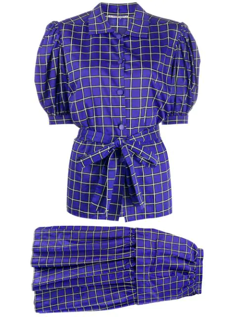 Saint Laurent 1980s Checked Blouse And Skirt In Blue