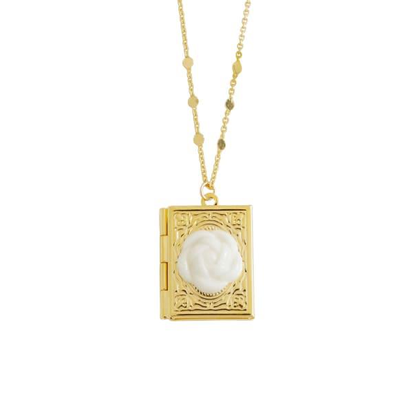 Poporcelain Porcelain Camellia Book Locket Necklace