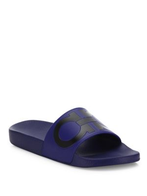 c6553e2074d Salvatore Ferragamo Men s Groove 2 Original Double Gancini Slide Sandals In  Blue
