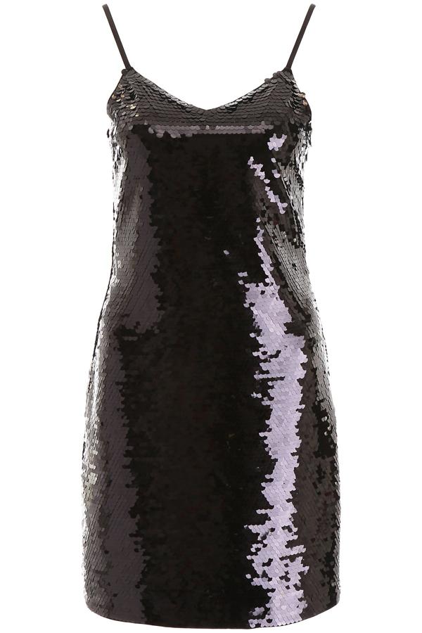 Michael Michael Kors Sequinned Slip Dress In Black