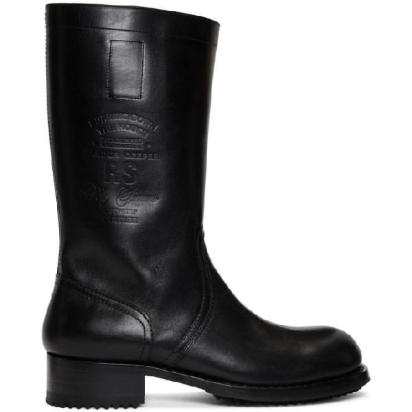 Raf Simons Logo-debossed Boots In 00099 Black
