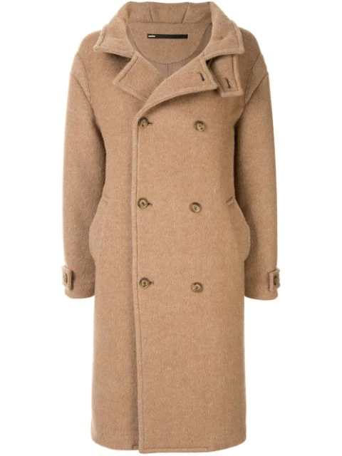 Muller Of Yoshiokubo Double Breasted Wool Coat In Brown