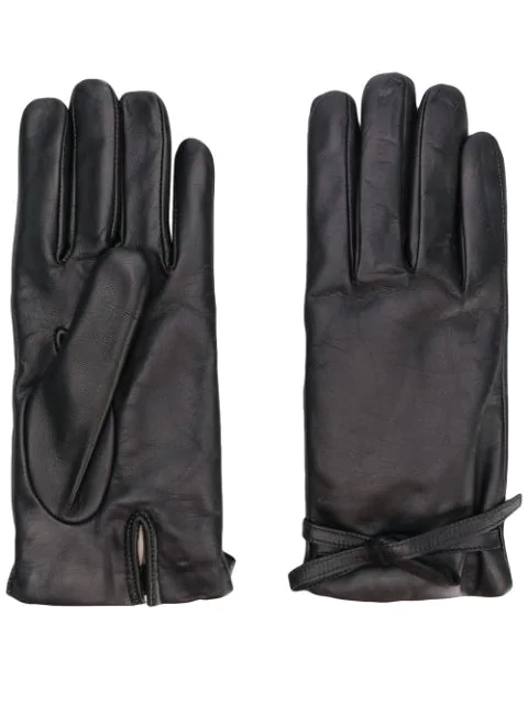 L'autre Chose Wool Lined Gloves In Black