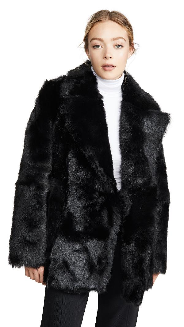 Theory Reversible Shearling Coat In Black