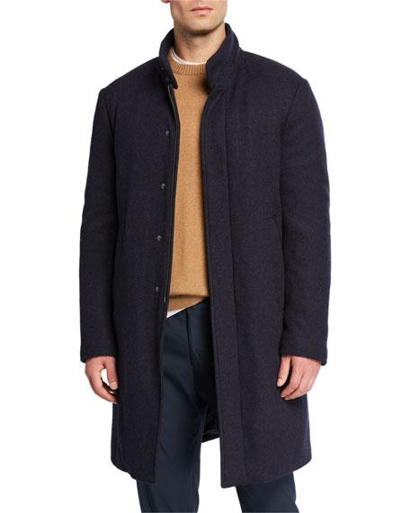 Loro Piana Men's New York Solid Hidden-button Topcoat In Blue
