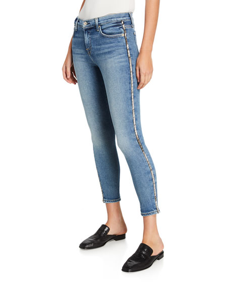 7 For All Mankind Mid-Rise Ankle Skinny Jeans With Metallic Stripes In Luxvinmuse