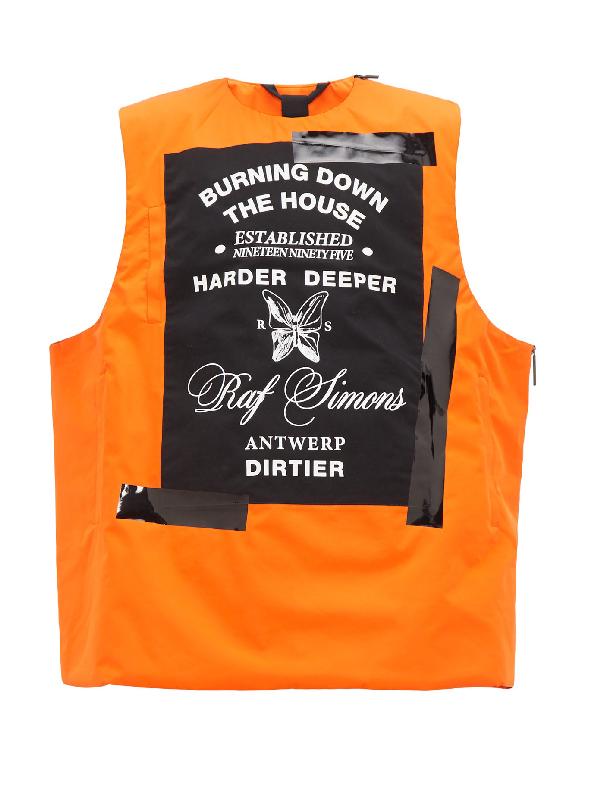Raf Simons Logo-print Padded Technical Vest In Orange