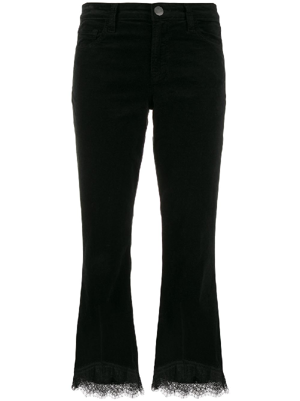 J Brand Lace Detail Cropped-Length Trousers In Black