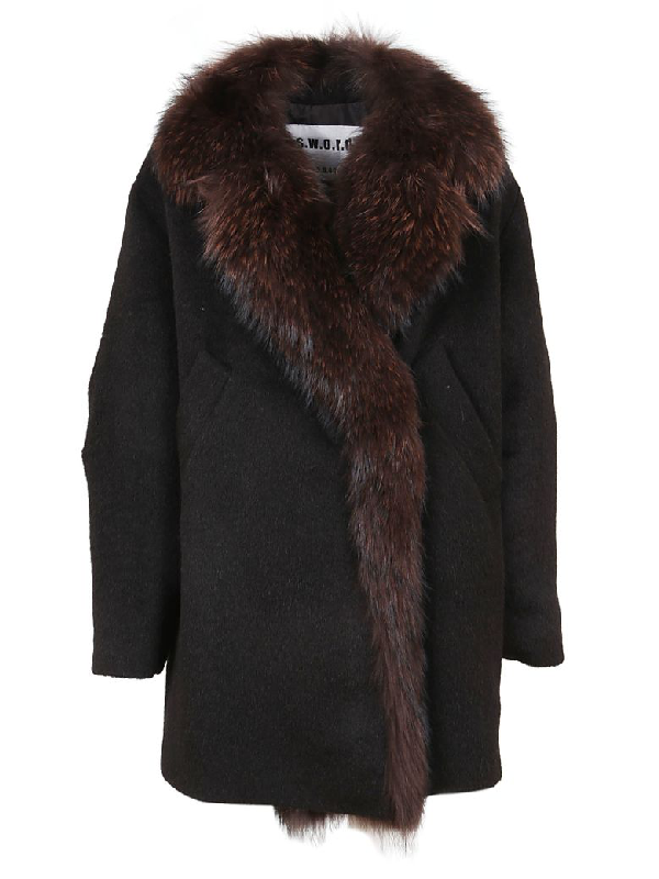 S.W.O.R.D 6.6.44 Black Fur And Wool Coat