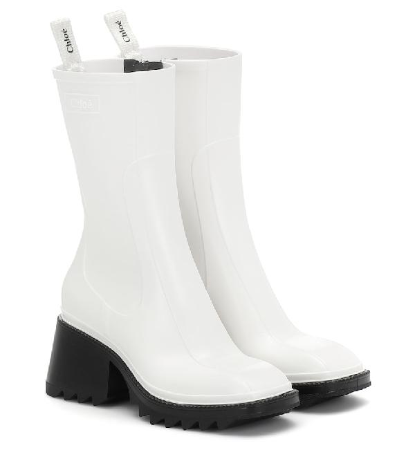 ChloÉ Women's Betty Block-heel Platform Rain Boots In 101 White