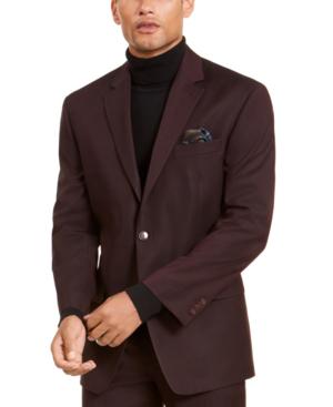 Sean John Men's Classic-fit Stretch Burgundy Neat Suit Separate Jacket