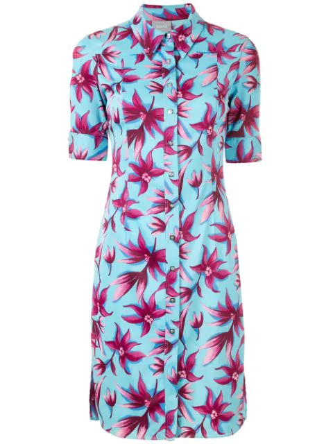 Versace Floral Shirt Dress In Blue