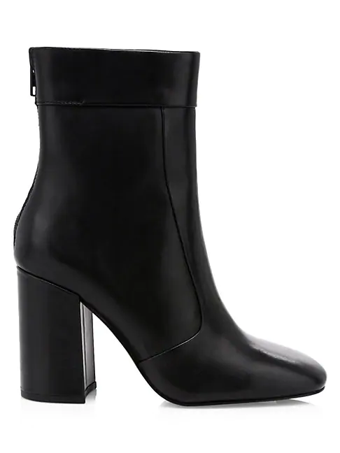 Ash Janice Square-toe Leather Ankle Boots In Black
