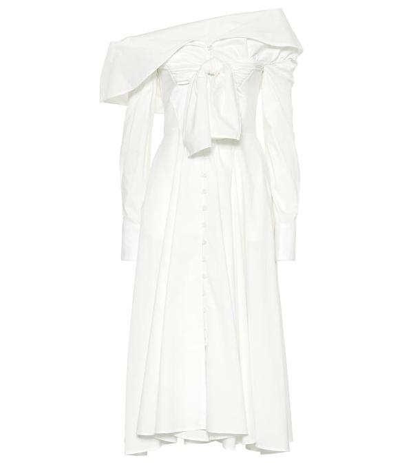 Rosie Assoulin Booby Trap Off-the-shoulder Tie-front Cotton-blend Poplin Dress In White