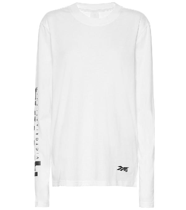 Reebok X Victoria Beckham Logo Cotton-Jersey T-Shirt In White