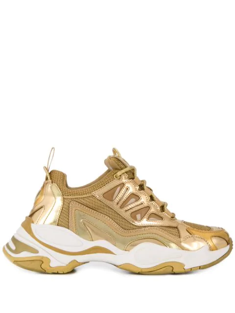 Sandro Astro Chunky Sole Trainers In Full Gold