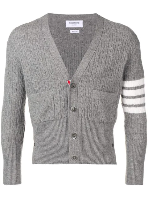 Thom Browne Baby Cable Short Cashmere Cardigan In Grey