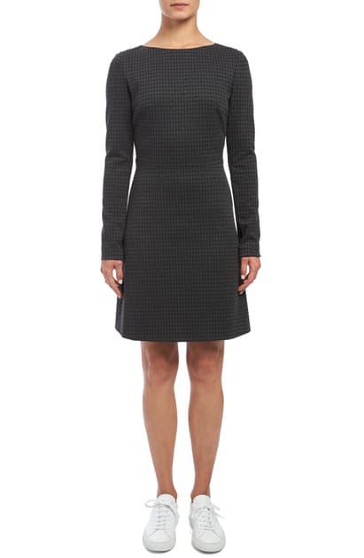 Theory Kamillina Houndstooth Knit Seamed-Waist Dress In Multi