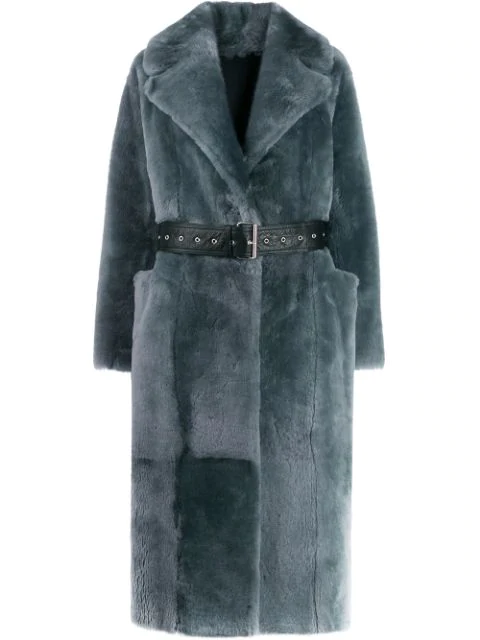 Common Leisure Love Belted Coat In Grey