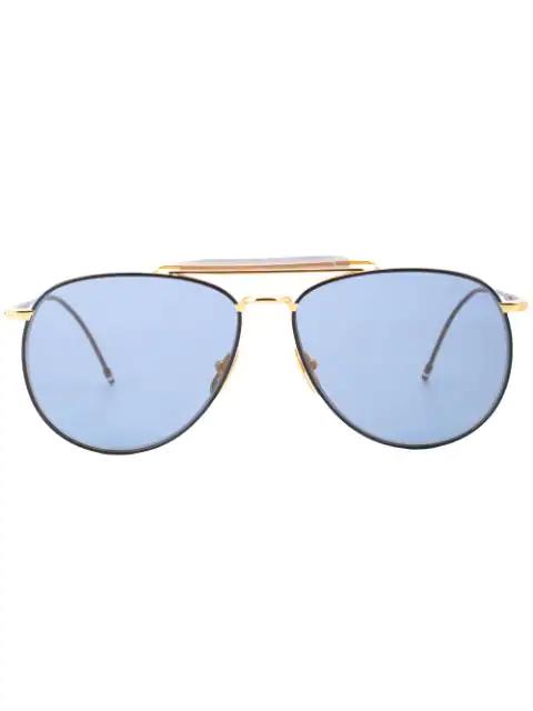Thom Browne Double-bridge Aviator Sunglasses In Blue