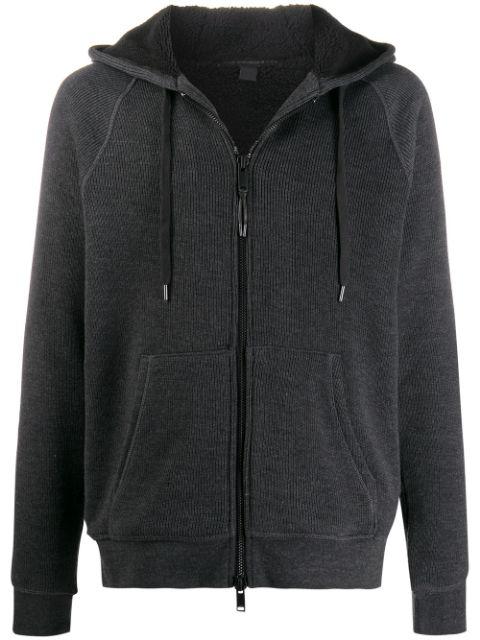 John Varvatos Knitted Hooded Jacket In Grey