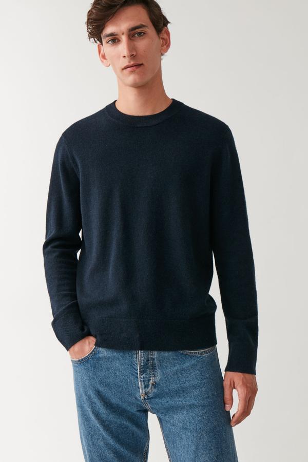 Cos Merino-yak Crew-neck Sweater In Blue