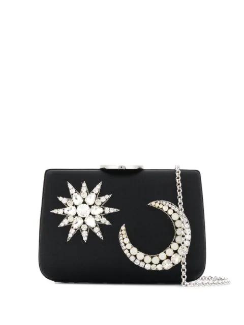 Giambattista Valli Crystal Embellished Clutch Bag In Black