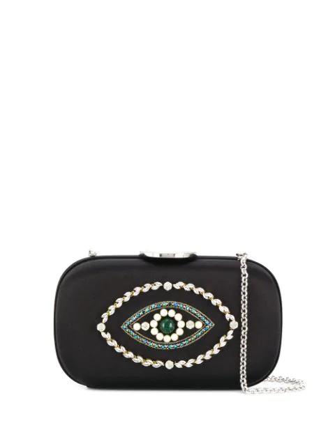 Giambattista Valli Crystal Embellished Clutch Bag In 9600 Black - Nickel