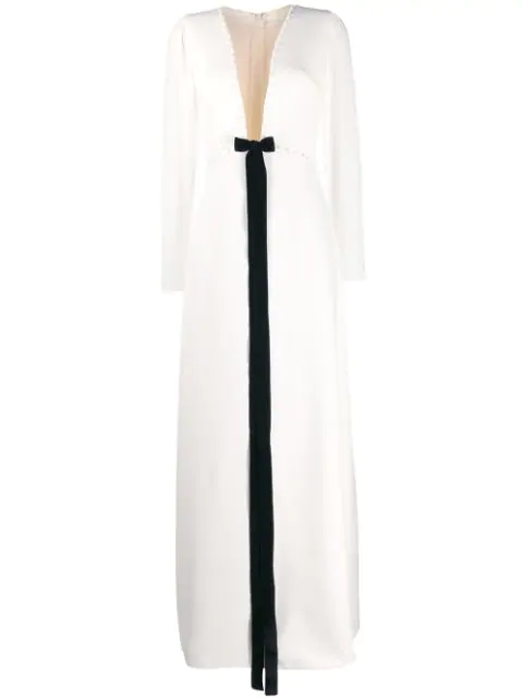Loulou Plunge Evening Dress In White