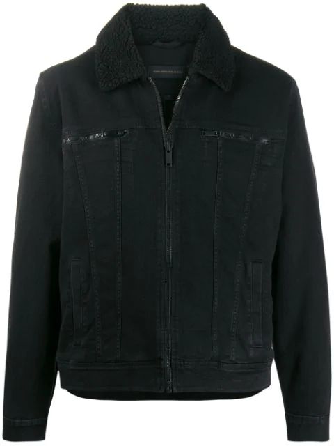 John Varvatos Stitching Detail Bomber Jacket In Black