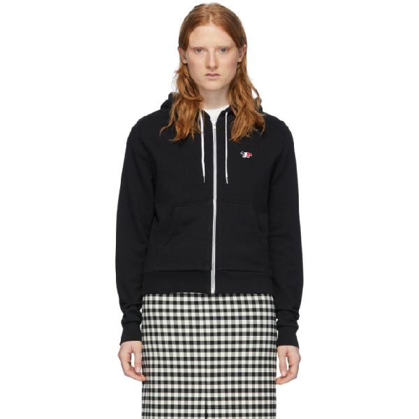 Maison KitsunÉ Maison Kitsune Black Tricolor Fox Zip-up Hoodie In Bk Black