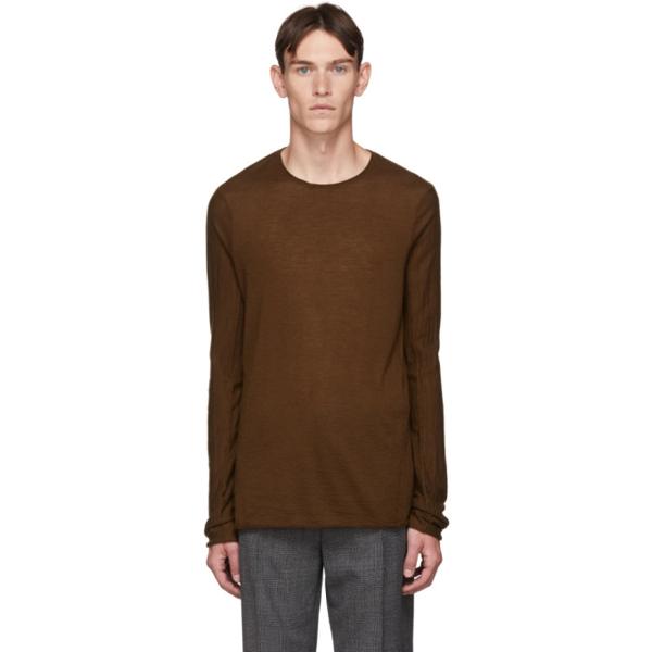 Ziggy Chen Brown Cashmere Long Sleeve T-shirt In 85 Rust