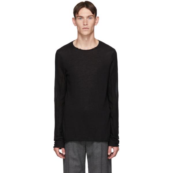 Ziggy Chen Black Cashmere Long Sleeve T-shirt In 04 Black