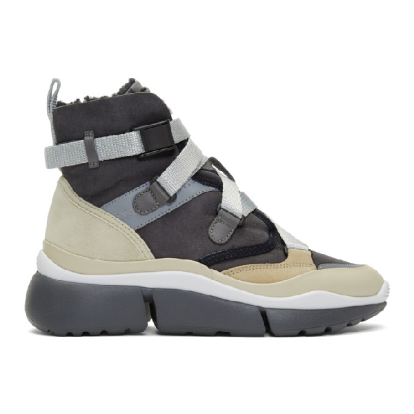 ChloÉ Chloe Grey And Beige Sonnie High-Top Sneakers In 4A7 Midnigh