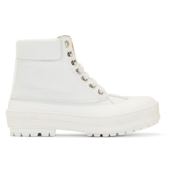 Jacquemus Les Meuniers Hautes Lace-up Boots In White