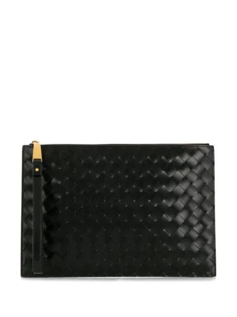 Bottega Veneta Intrecciato Clutch Bag In Black