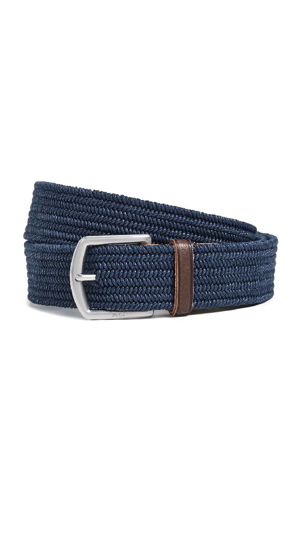 Polo Ralph Lauren Braided Logo-Embossed Cotton-Stretch Belt In Navy