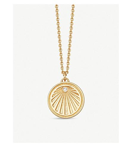 Astley Clarke Gold Plated Vermeil Silver Celestial Sunrise White Sapphire Pendant Necklace