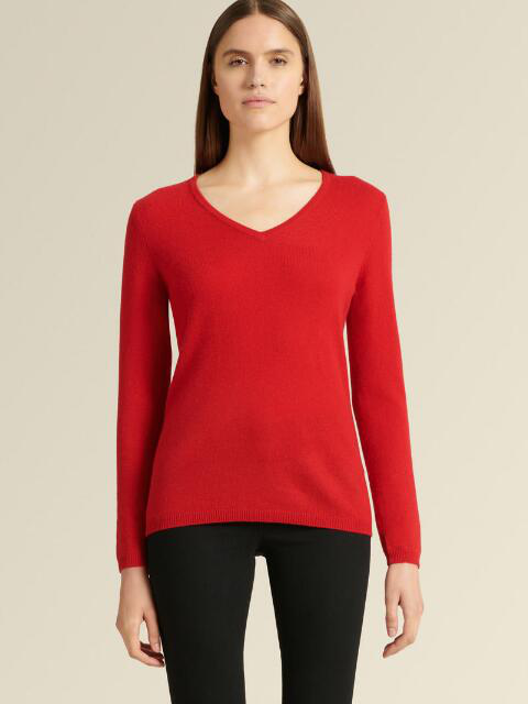 Donna Karan New York V-Neck Cashmere Sweater In Lacquer Red