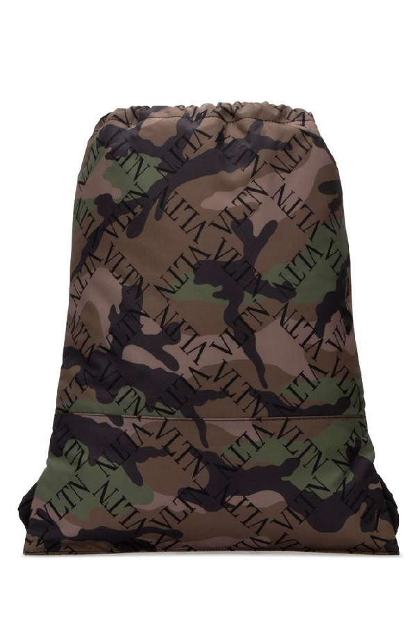 Valentino Camouflage Backpack In Green
