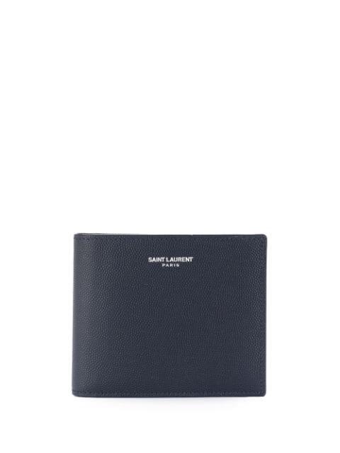 Saint Laurent Logo Grainy Leather Wallet In Blue