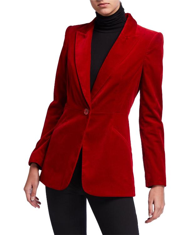 Elie Tahari Madison One-Button Velvet Jacket In Redwood