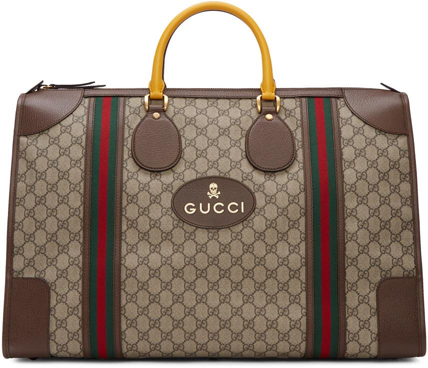 24fd217dfcf0 Gucci Men's Neo Vintage Gg Supreme Print Webbing Duffle Bag In Brown In  Multi