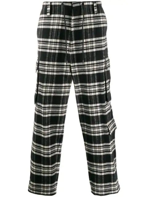 Juun.j Checked Straight Relaxed-fit Cotton-flannel Trousers In Black White